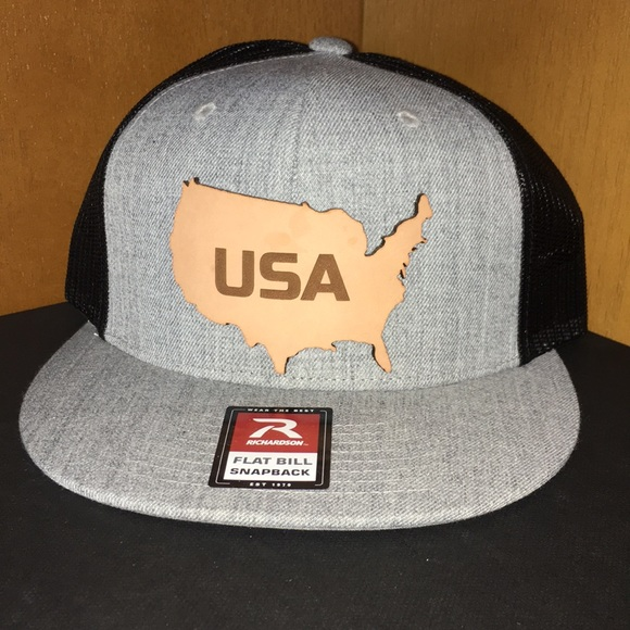 802f477562a Branded Bills USA America Leather Gray Trucker Hat
